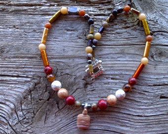 Picture jasper turtle,coral,magnesite,buri beads,glass,crazy horse,beaded necklace 21 inch