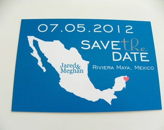 MEXICO Save the Date Postcards Set of 48 Destination Wedding Any City Available Mexico Wedding Cards Mexico Postcards Map Save The Date