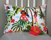 Throw Pillow Cover - Hula Girls, Palm Trees and Flowers - 12 x 16