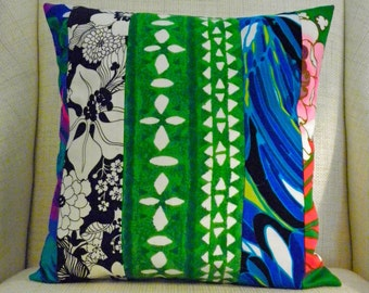 Pillow Cover - Vintage Tropical Mod Patchwork - Black, White, Green, Turquoise - 18 x 18