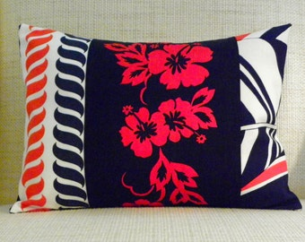 Throw Pillow Cover - Vintage Red, White and Blue Tropical/Nautical Patchwork - 12 x 16