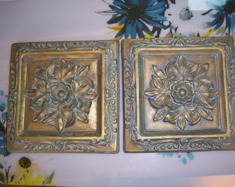 Beautiful Pair of Gold White Washed Embossed Wall Plaques, Shabby Chic