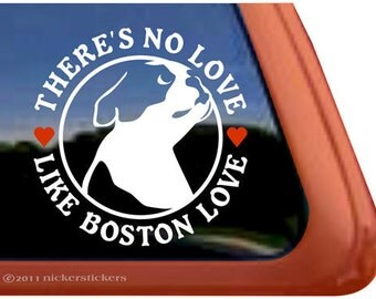 "Boston Terrier Love | DC611NL | High Quality Adhesive Vinyl Window Decal Sticker - 5"" tall x 5"" wide"