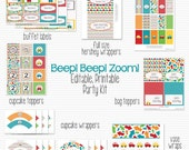 Cars Printable Party Package, Party Supplies, Boy Birthday, Baby Shower, Beep Beep Zoom -- Editable and Instant Download
