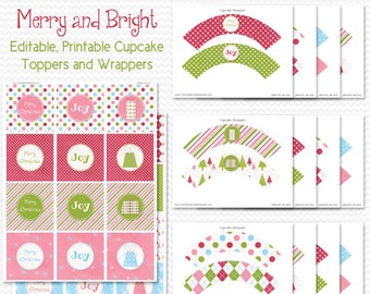 Christmas Cupcake Toppers, Cupcake Wrappers, Birthday Party Decor, Holiday Party Decorations -- Editable, Printable, Instant Download