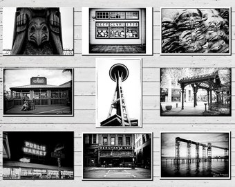 Seattle Art Postcards Set of 9 - Space Needle, Pike Place Market, Pioneer Square, Totem Pole, Black and White Seattle Photography, Small Art