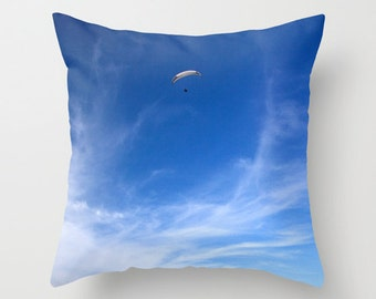 Blue Pillow Clouds and Sky Decorative Throw Pillow, Blue Home Decor, Blue Pillow Cover, Hang Glider San Diego