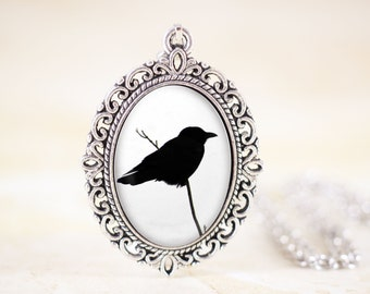 Crow Silhouette Pendant - Gothic Crow Necklace, Raven Jewelry, Black Crow Jewelry, Black and White Necklace, Gothic Jewelry, Bird Silhouette