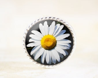 Daisy Brooch - Silver Flower Jewelry Pin, Daisy Photograph Broach