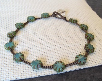 """Crochet Anklet """"Turquoise Flowers"""", Hippie Boho Chic Jewelry, Surfer Beach"""