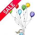 SALE Little girl with balloons, watercolor original illustration