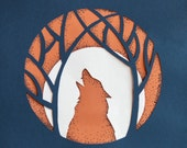 Paper Cut howling wolf in the forest,  8.3 x 11.7 inches (30x21 cm)