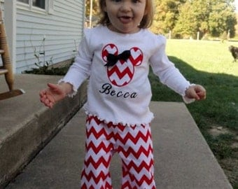 Personalized minnie mouse chevron pants outfit with matching hair bow