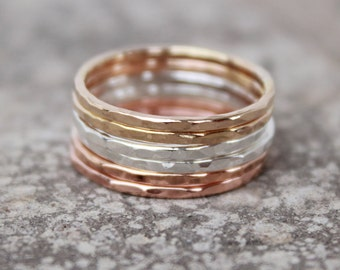 Rose Gold, Gold, and Sterling Silver Hammered Stacking Rings - thin stacking rings - stacking rings - modern minimalist jewelry