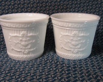 Pair of Vintage Milk Glass Pots with Relief Patterns, Fluted, Running Greek Key, & Adams Cartouche