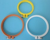 3 Plastic Embroidery Hoops 4 and 5 inch Size