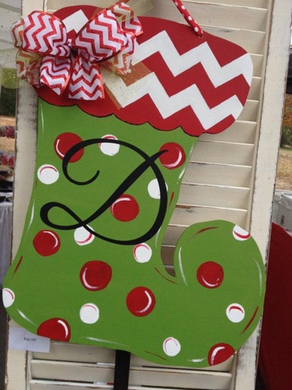 Items similar to wooden christmas stocking door hanger