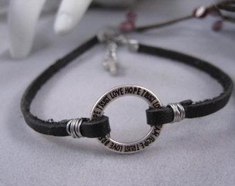 Black leather bracelet, love, dream, hope, trust, circle charm bracelet, tiny silver cross, baptism gift, confirmation gift