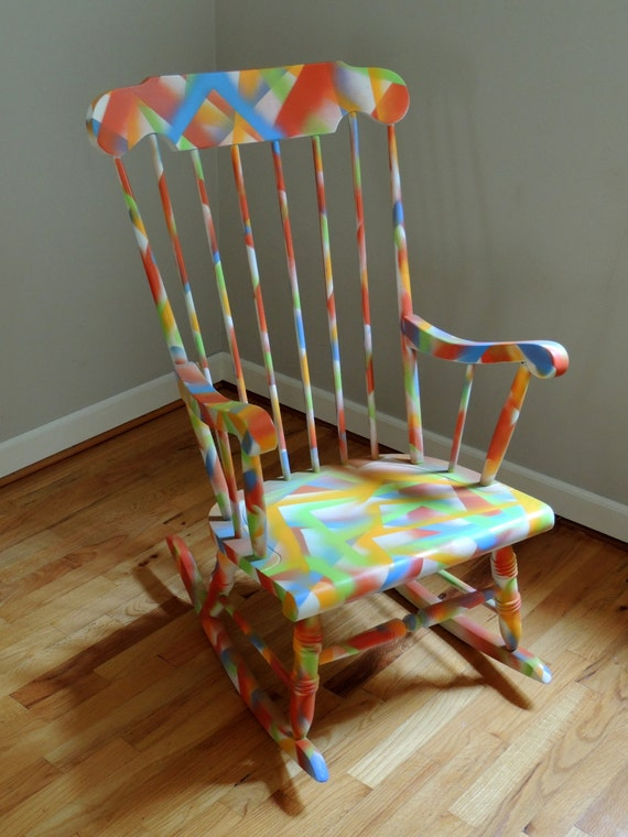 Items similar to Colorful Rocking Chair on Etsy