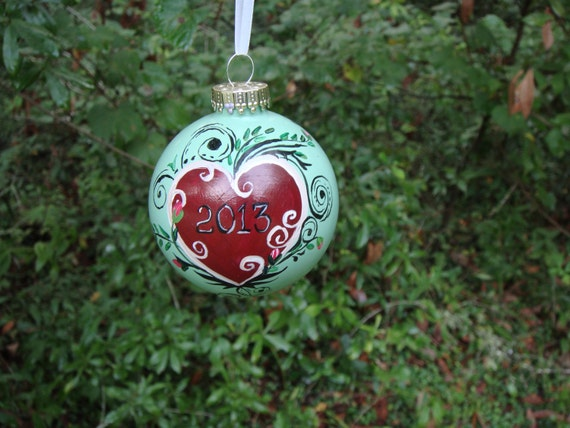 Reserved custom for Dianne Hand Painted Glass Ornament