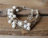 Pearl bracelet / natural linen hemp bracelet / sterling silver wedding bracelet / flower charm