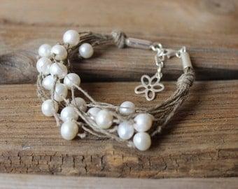 Pearl bracelet / linen hemp bracelet / sterling silver wedding bracelet / flower charm