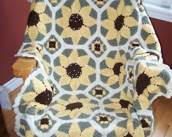 New Crocheted Sunflower Afghan