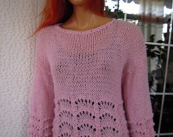 pink sweater jumper handmade knitted from mixed soft wool yarn/romantic lace sweater gft idea for her women clothing by goldenyarn
