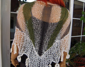 shawl handmade knitted and crocheted scarf/sparkle shawl/silk palletes poncho in green and white all size gift idea for her by goldenyarn