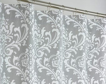 Gray Damask Shower Curtain - EXTRA LONG - 72 Wide x 72, 78, 84, 90, 96 Long - Grey & White