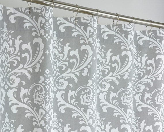 Gray Damask Shower Curtain EXTRA LONG 72 Wide X 72 By