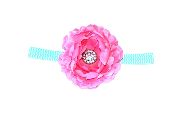 Large Silk Flower on Aqua and White Chevron FOE elastic headband with Pave Rhinestone Button Center - Valentine's, Spring
