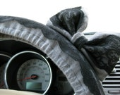 Steering Wheel Cover Bow, Steel Grey and Black Lace Steering Wheel Cover with Matching Bow, Flannel Grey Black Lace Cover with Bow BF11002
