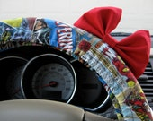 Steering Wheel Cover Bow, Superheroes Steering Wheel Cover with Red Bow BF11104