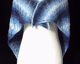 Sale. Hand knitted women's lacy blue sparkly self patterning triangular shawl / wrap.