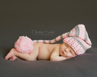 Newborn Elf Hat, Pink and Gray Hat, Newborn Photo Prop, Newborn Girl Hat, Stocking Cap, Newborn Pom Pom Hat, Long Tail Hat, Striped Hat