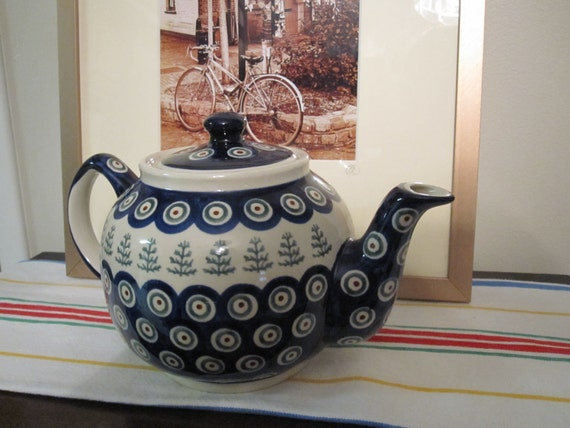 Vintage Boleslawiec Handmade in Poland teapot
