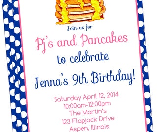Sweet and SimplePJ's and Pancakes Party Invitation-DIY PRINTABLE