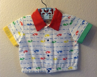 Vintage Primary Colors Whale Shirt (12 months)