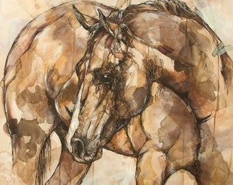 "Horse Art Print 12"" x 12"" Reproduction Of Original Ink and Acrylic Painting"