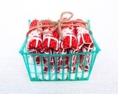 Set of Four Flour Sack Strawberry Basket Napkins