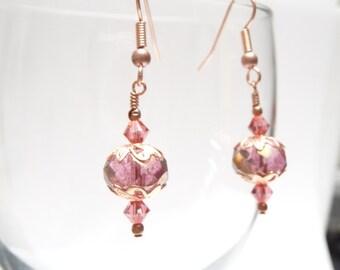 SALE Genuine Copper Watermelon Pink Swarovski Dangle Earrings