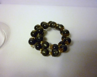 Vintage Hand Crafted Bracelet or Anklet - Iridescent Smokey Charcoal - Springs Right Back