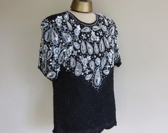 Vintage evening top, BLACK and SILVER,  beaded blouse  vintage 1980s  pearls S - M