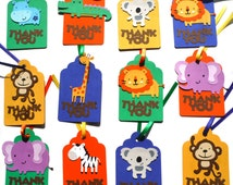 Thank you Favor or Loot Bag Tags Personalized Cute Jungle Animal Theme Birthday Party Decoration