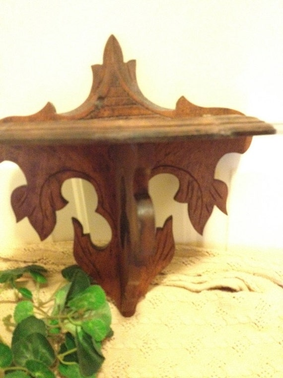 Hand Carved Wood  Leaf Shelf  Signed