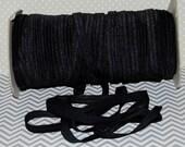 "3/8"" Fold Over Elastic BLACK Shiny FOE 3/8"" inch Baby Headbands Hair Ties Satin Elastic Soft stretch - 5 yds Skinny Elastic FOE"