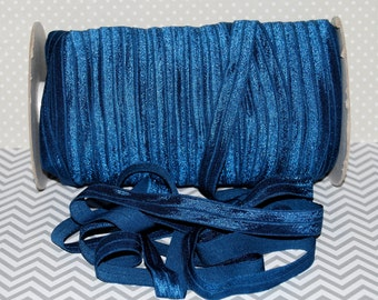 "Light Navy Blue Fold Over Elastic - Light Navy 365 Shiny FOE 5/8"" inch Baby Headbands Hair Ties Satin Elastic Soft stretch  5 yards Elastic"