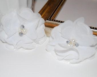 "Chiffon Flowers - White with rhinestones  pearl centers - (4 pcs) Whitney shabby chiffon flowers 2.75"""