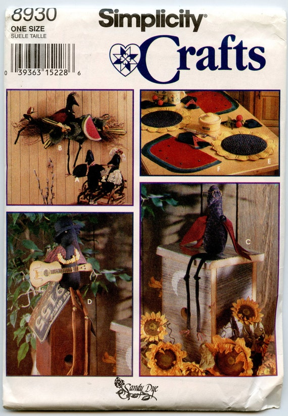 1990s Simplicity 8930 Craft Sewing Pattern Crow Decoration Stuffed Animal Soft Sculpture Watermelon or Sunflower Placemats Sandy Dye UNCUT
